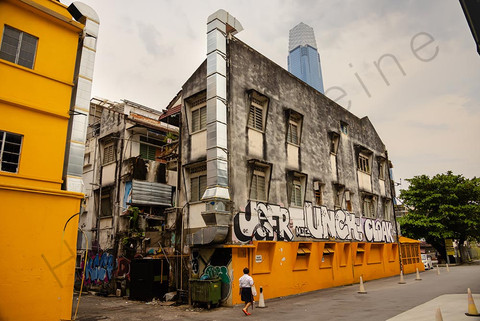 Old house with graffiti at the back roads of Kuala Lumpur