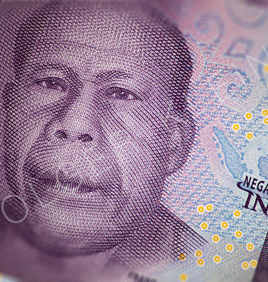 A fan of Indonesian banknotes