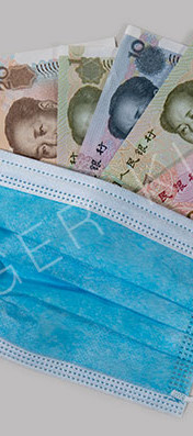 Face mask with Chinese renminbi or yuan