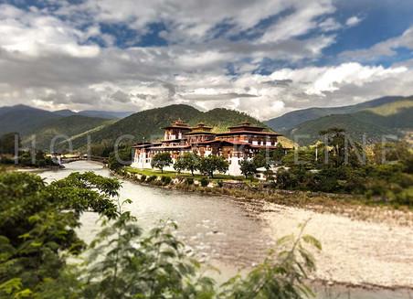 The Punakha Dzong in Bhutan, Himalaya.