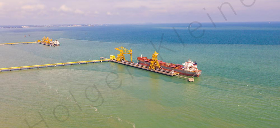 A coal transport ship at the dock of the Jimah Power Plant at the malaysia west coast