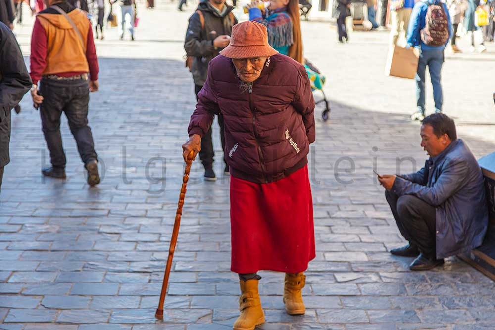 Old Tibetan man with walking stick