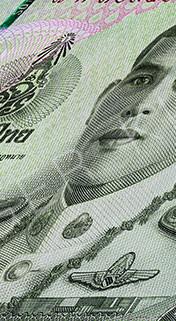 Macro photography of a 20 Thai baht banknote.