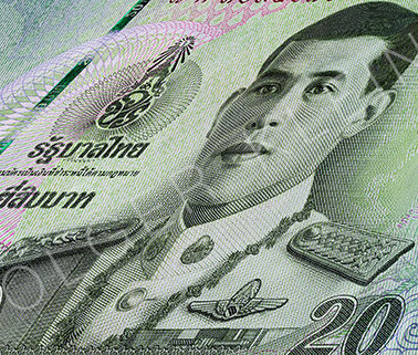 Macro photography of a 20 Thai baht banknote.