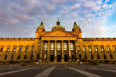 Sunrise at the federal high court building at the city of Leipzig.