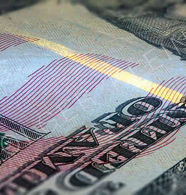 50 dollar note with the fluorescent security thread