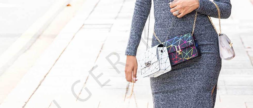 Young Asian woman with handbag