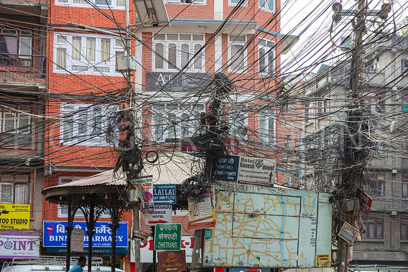 Electrical wire on the roads of Kathmandu