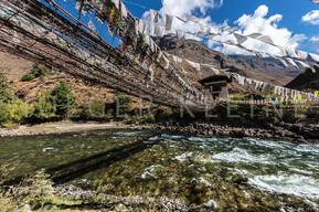 Suspension bridge over the Paro Chu River at Bhutan