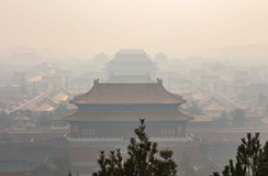 Industrial smog or haze over the forbidden city in Beijing