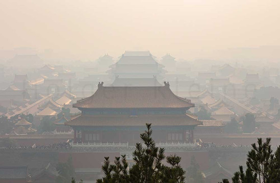 Industrial smog or haze over the forbidden city in Beijing