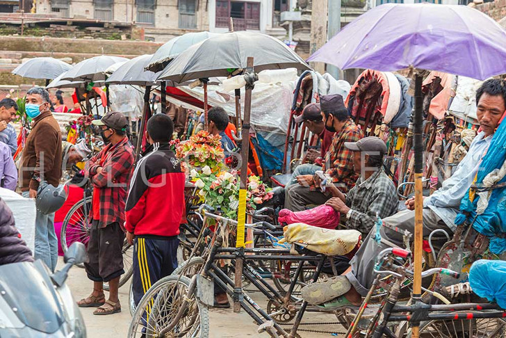 Rickshaw drivers in the old city center of Kathmandu