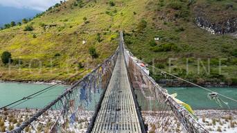 The Punakha Suspension Bridge at Bhutan