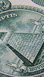 Extreme macro photography of a 1 US dollar banknote.