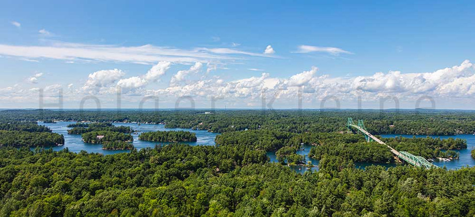 Aerial view over the landscape of the thousand islands, Ontario, Canada