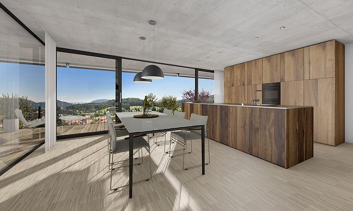 Edle Küche mit grosser Glasfront. Minergie P. EpprechtArchitekten AG