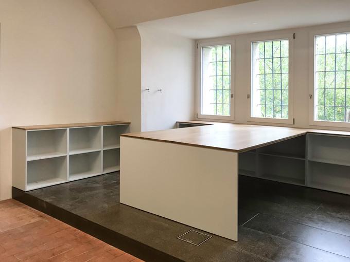 Farbkonzept Möbel, Umnutzung alte Bäckerei wird neu Büro, Jugendheim Aarburg 2017