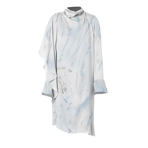 Asymmetrical Marbled Dress - Blue/Grey