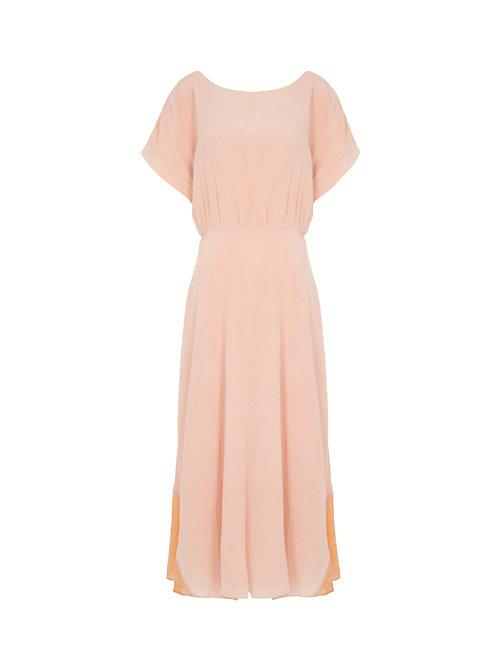 Misty Marbled Dress in Velvet - Beige