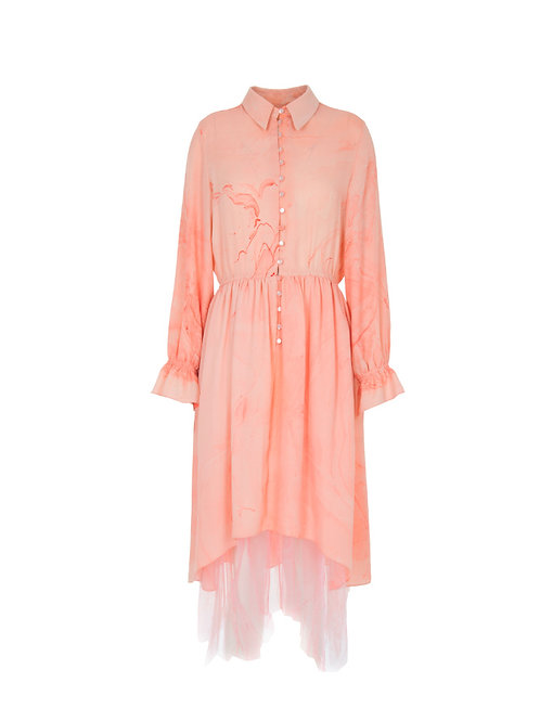 Marbled Button Up Tulle Dress - Pink