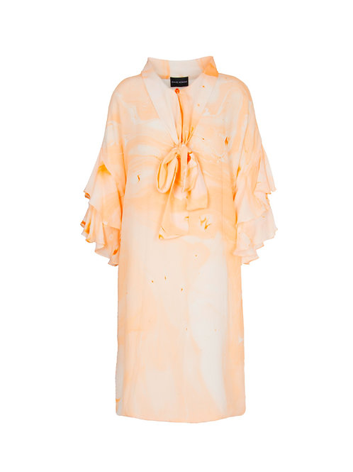 Bow Neck Marbled Dress - Orange