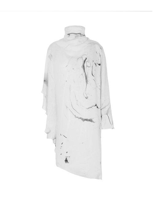 Asymmetrical Marbled Dress - White/Grey