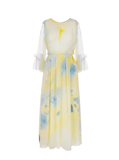 Hand Marbled Tulle Dress