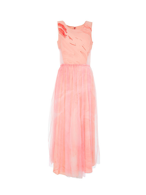 Layered Cut Out Tulle Dress - Pink