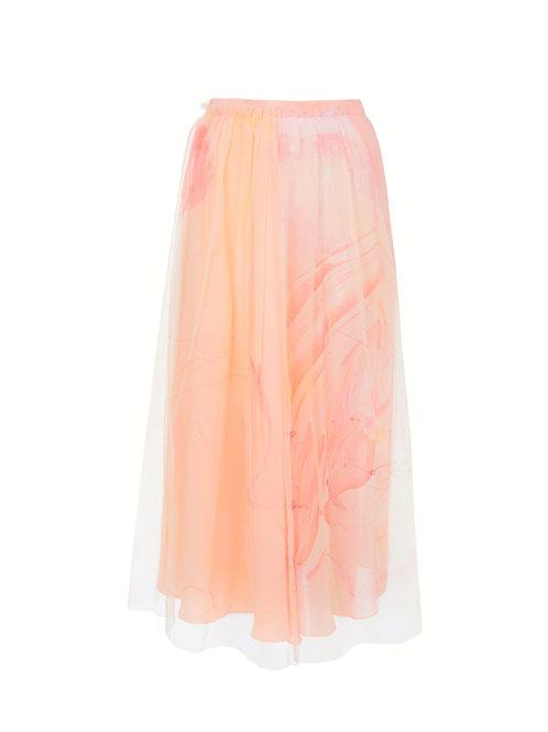 Marbled Slit Tulle Skirt