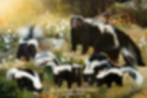 Famille de moufettes, huile sur toile – Tous droits réservés © Monique Benoit