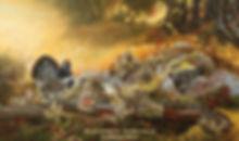 Le maître coq – Tétras du Canada, huile sur toile – Tous droits réservés © Monique Benoit