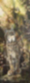 Sous les saules – Paruline tigrée et lynx du Canada, huile sur toile – Tous droits réservés © Gisèle Benoit