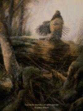 Le tronc de tambourinage – Gélinotte huppée, huile sur toile – Tous droits réservés © Gisèle Benoit