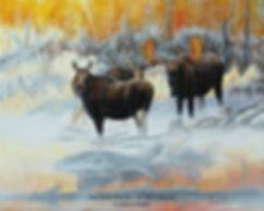 Brume et givre – Orignaux en octobre, huile sur toile – Tous droits réservés © Gisèle Benoit
