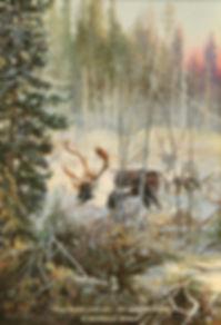 Caribous des Grands-Jardins, huile sur toile – Tous droits réservés © Monique Benoit