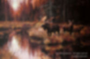 The Patriarch – Bull Moose with Cow and Calf, oil on canvas – All rights reserved © Gisèle Benoit