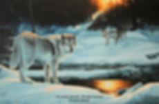 La ravine aux loups – Loups gris en mars, huile sur toile – Tous droits réservés © Gisèle Benoit