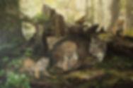 Ronrons en sous-bois – Famille de lynx du Canada, huile sur toile – Tous droits réservés © Gisèle Benoit