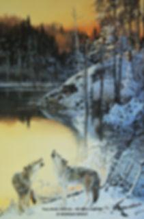 Le ralliement – Loups gris, huile sur toile – Tous droits réservés © Monique Benoit
