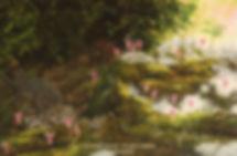 Beautés fragiles – Calypsos bulbeux, et tétras du Canada sur son nid, huile sur toile – Tous droits réservés © Gisèle Benoit