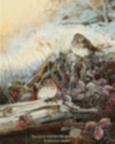 Givre de mai – Grives solitaires, huile sur toile – Tous droits réservés © Monique Benoit