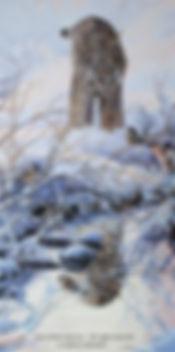 Rencontre au ruisseau - Lynx du Canada et mésanges à tête noire, huile sur toile - Tous droits réservés © Gisèle Benoit