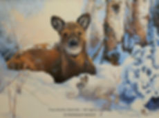 The Snowshoe Hare Is Waking-Up – Young White-Tailed Deer and Snowshoe Hare, oil on canvas – All rights reserved © Monique Benoit
