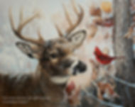 Confidences – Cerf de Virginie et cardinal, huile sur toile – Tous droits réservés © Monique Benoit