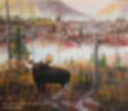 Crossing the Burned Area – Bull Moose, oil on canvas – All rights reserved © Gisèle Benoit