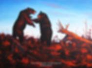 Querelle au sommet – Ours noirs, huile sur toile – Tous droits réservés © Gisèle Benoit