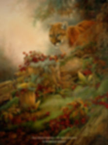 Cougar on the Lookout, oil on canvas – All rights reserved © Monique Benoit