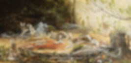Hares in Love – Snowshoe Hares in Spring, oil on canvas – All rights reserved © Monique Benoit