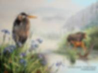 La tétée – Grand héron, iris et orignaux  Huile sur toile © Monique Benoit
