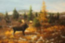 Tension dans la vallée – Couple d'orignaux au parc national des Grands-Jardins, huile sur toile – Tous droits réservés © Gisèle Benoit